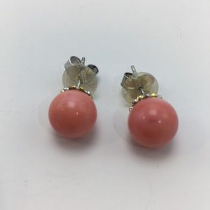 GEM EN VOGUE ROUND BAMBOO CORAL EARRINGS